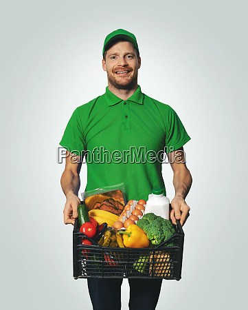 groceries delivery man in green
