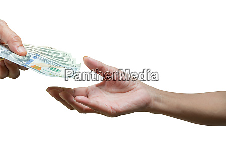 hand holding a banknote with hands