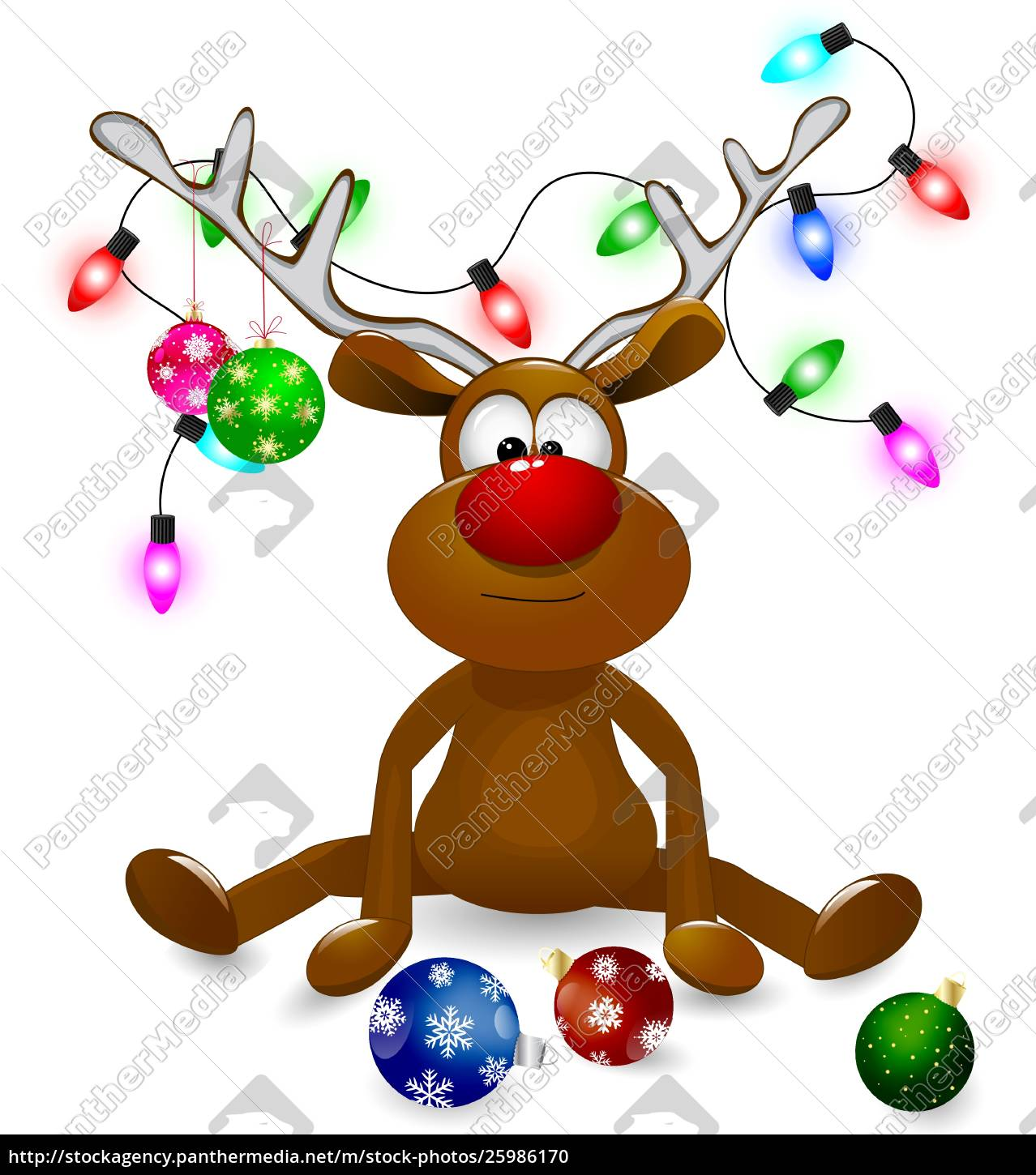 reindeer, with, christmas, decorations - 25986170