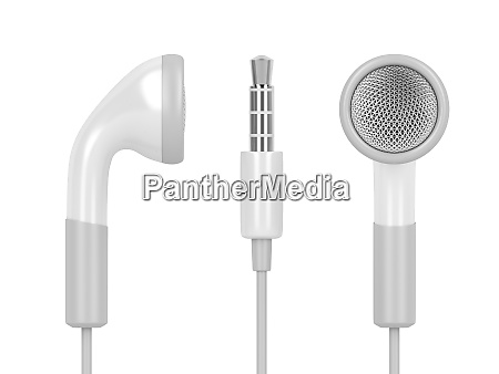 white wired earphones