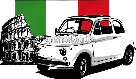 60s vintage italian car isolated on