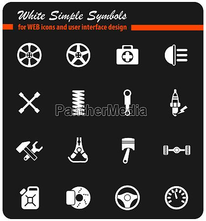 car shop white icon set
