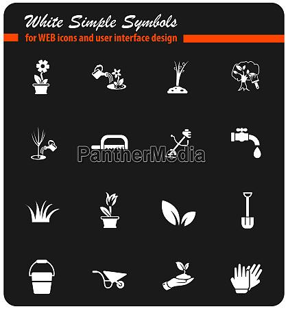 landscape design white icon set