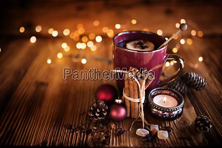 christmas still life with tea