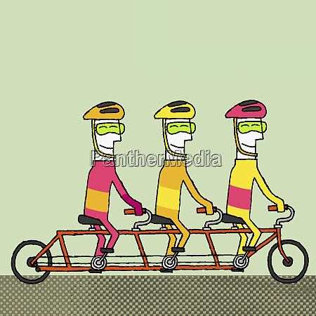 team riding bicycle