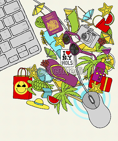 computer mouse with vacation objects