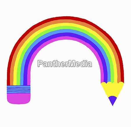 curved rainbow pencil