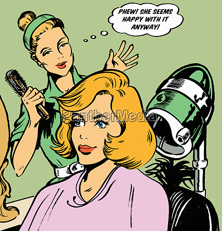 hairdresser expressing relief at clients hair