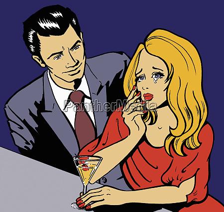 man approaching crying woman in bar