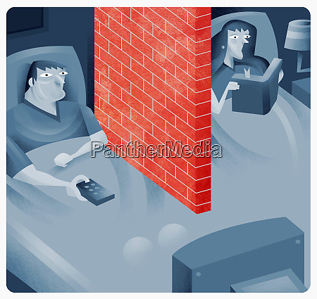 couple in bed with brick wall