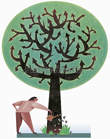 man watering tree with currency shaped