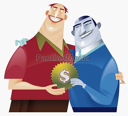 two men holding cog with dollar