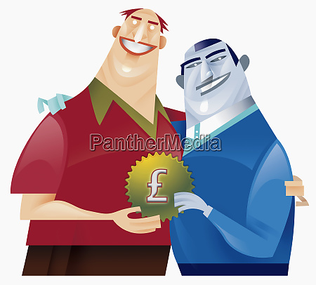 two men holding cog with pound