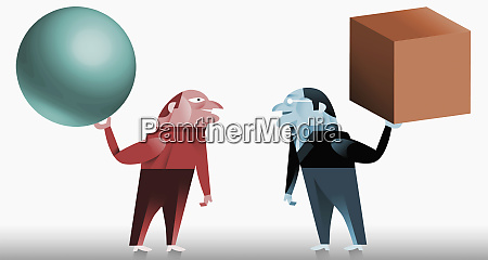 men holding cube and sphere