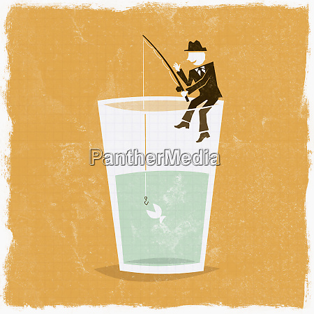 businessman fishing on edge of glass