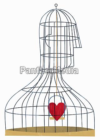 heart inside birdcage in shape of