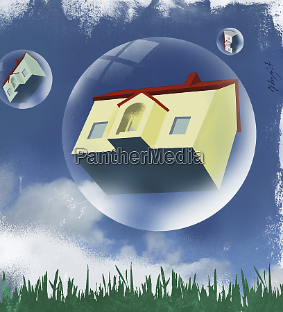 houses in bubbles floating in the