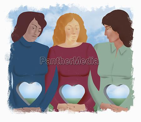 sad women with heart shaped holes