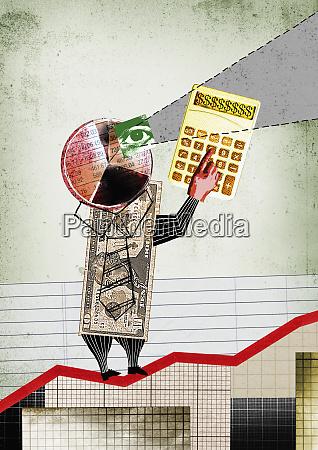 money businessman on growth chart