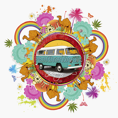 camper van surrounded by exotic images