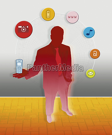businessman holding cell phone