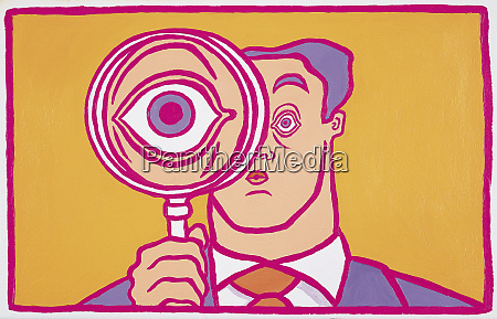 large eye of a businessman behind
