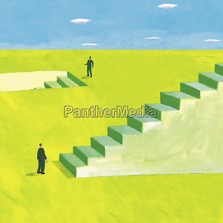 two businessmen standing at stairs going