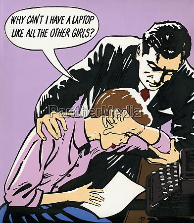 sad woman sitting at typewriter