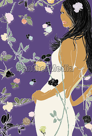 sexy woman and floral design