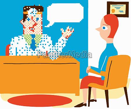 pixelated man at desk talking tom
