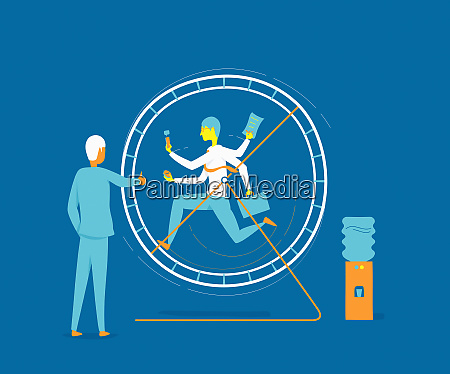 businessman running in exercise wheel watched