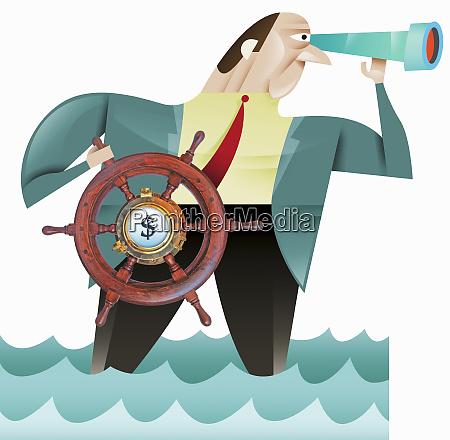 businessman using steering wheel with dollar