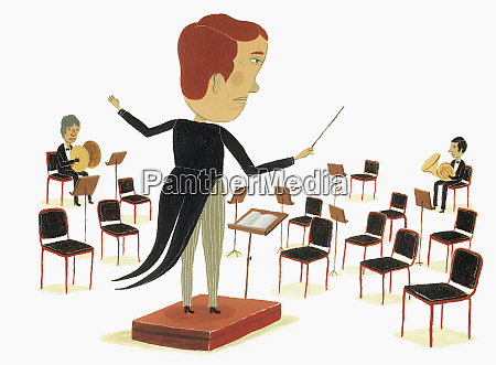 orchestra conductor looking at empty seats