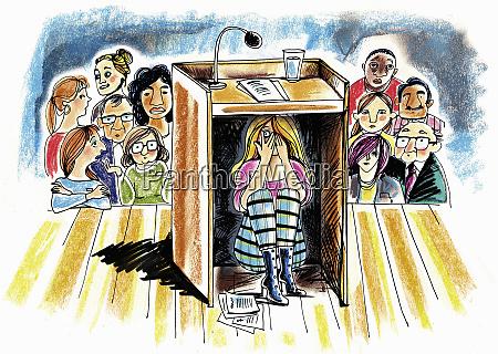 anxious teenage girl hiding under speakers