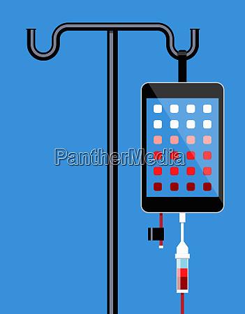 smartphone hanging on iv drip