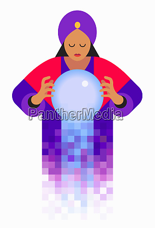 fortune teller looking in crystal ball
