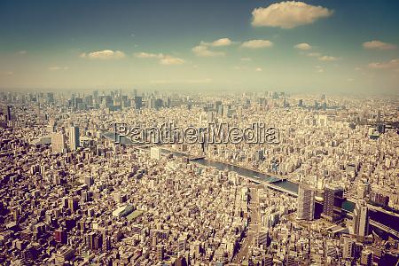 tokyo city skyline aerial view japan