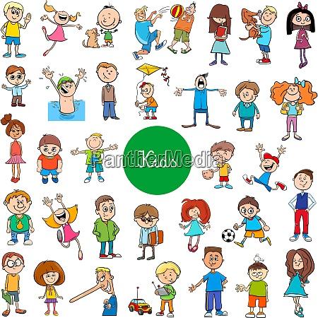 cartoon kids characters large set
