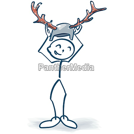 stick figure puts on a helmet
