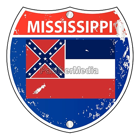 mississippi flag icons as interstate sign