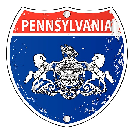 pennsylvania flag icons as interstate sign