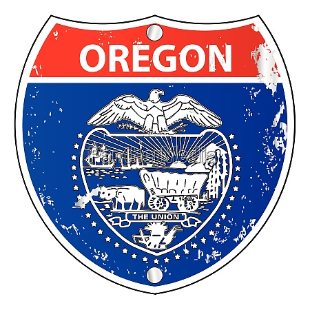 oregon flag icons as interstate sign