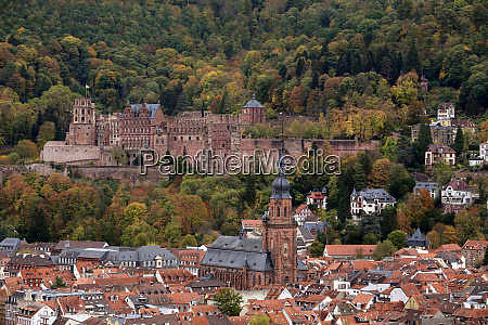 heidelberg old town with castle and