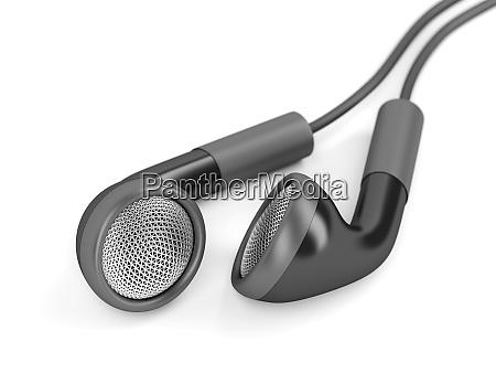black wired earphones