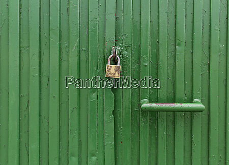 old closed metal door with a