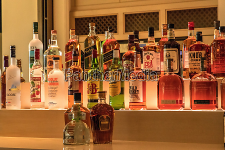 selection of colorful liquor alcohol bottles