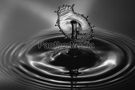 water droplet splash close up black