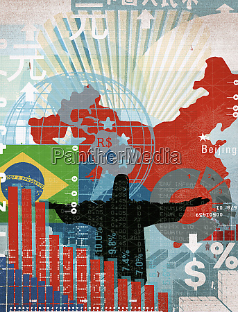 montage of international maps and financial