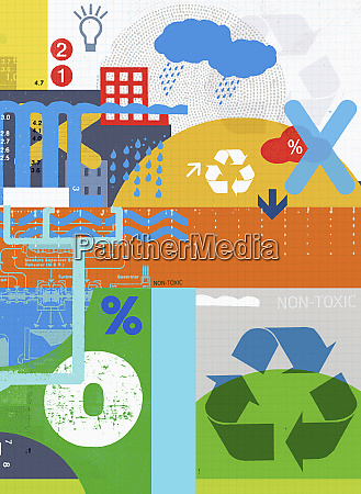montage of financial and recycling symbols