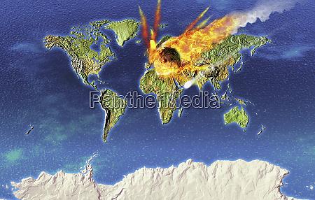 flaming meteor speeding toward earth